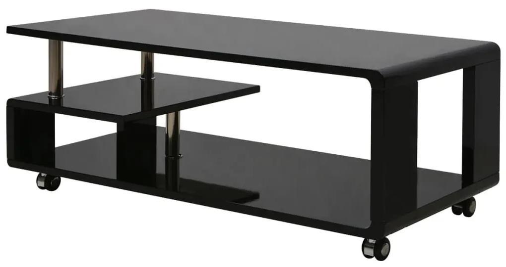 vidaXL Lesklý konferenčný stolík, čierny
