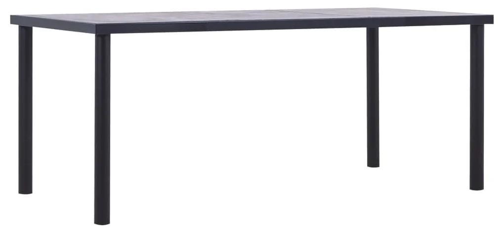 vidaXL Jedálenský stôl, čierna a betónovo sivá 180x90x75 cm, MDF