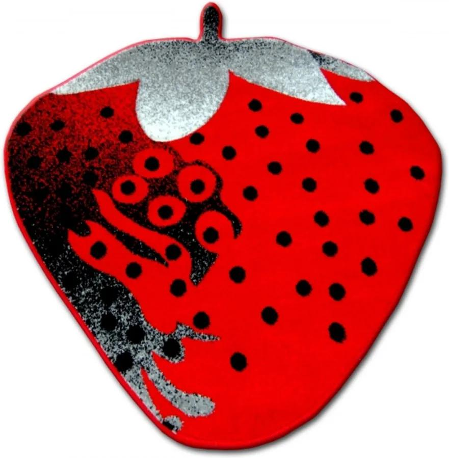 Detský kusový koberec Jahoda červený kruh, Velikosti 120x120cm