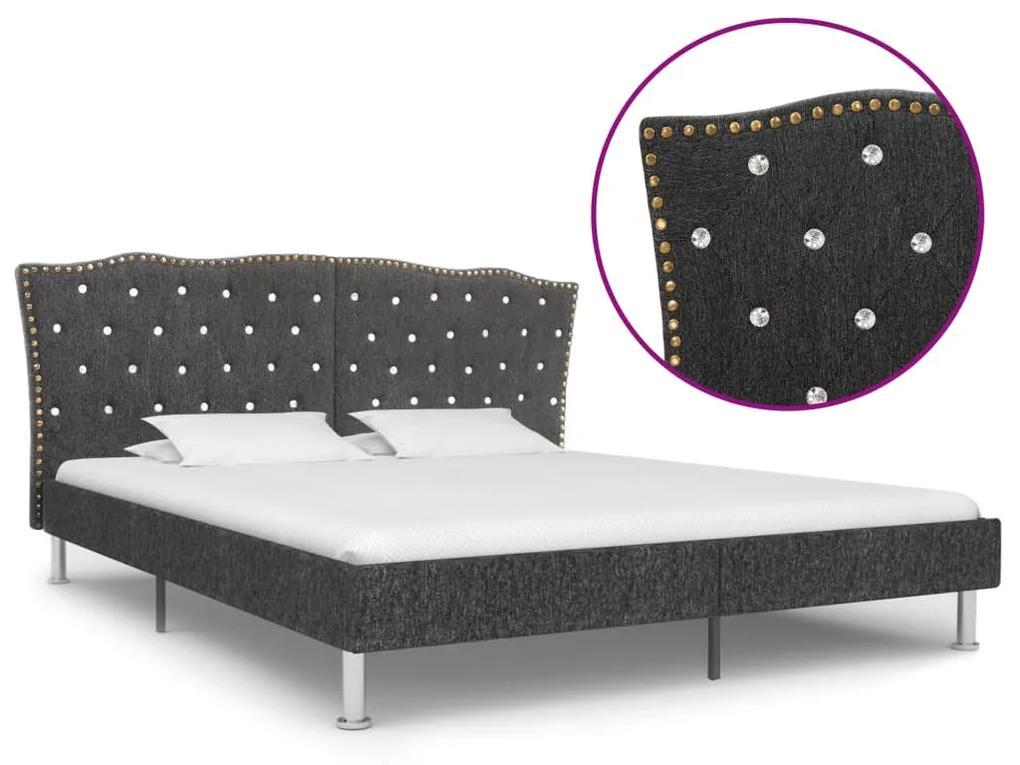 vidaXL Rám postele tmavosivý látkový 160x200 cm