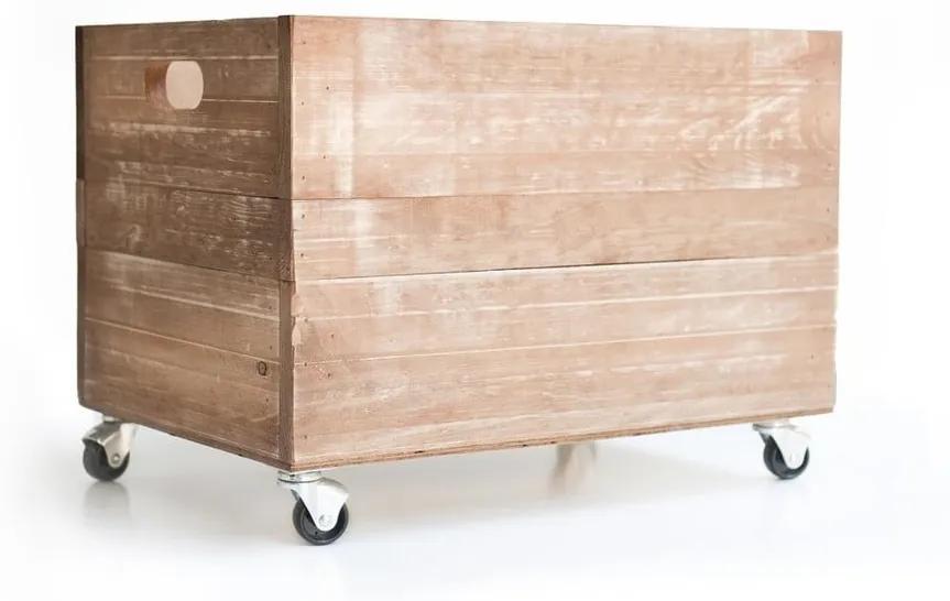 Hnedá drevená debnička Really Nice Things Wheels