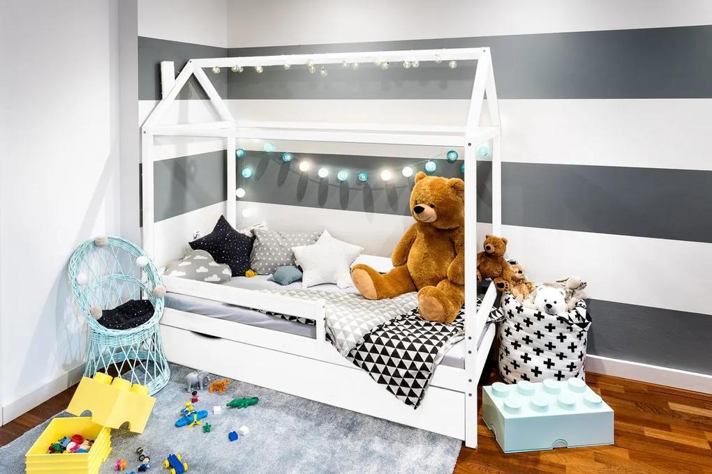 Detská posteľ domček Paul - biela 180x80 cm posteľ + úložný priestor