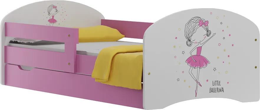 MAXMAX Detská posteľ so zásuvkami MALÁ balerína 160x80 cm + matrac 160x80 pre dievča ÁNO