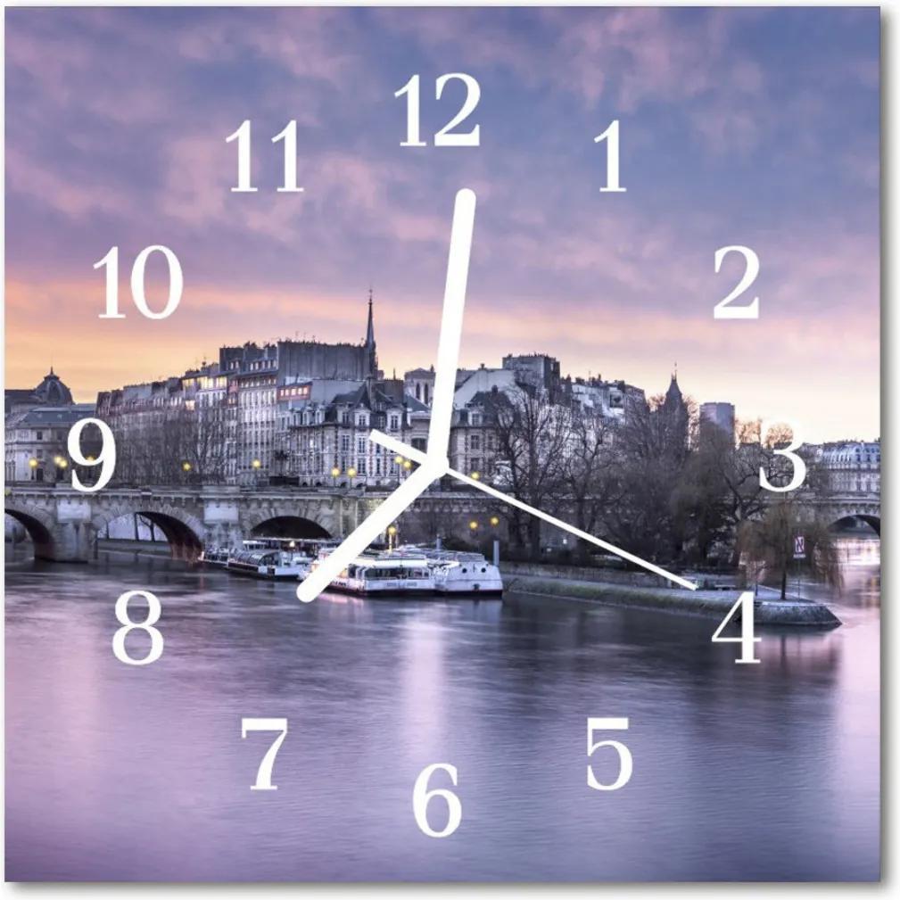 Nástenné skleněné hodiny Město řeky