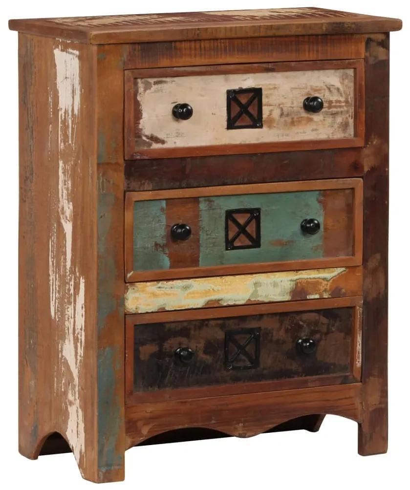 vidaXL Zásuvková skrinka 60x30x75 cm masívne recyklované drevo
