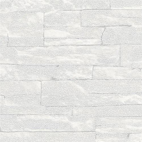 Vliesové tapety na stenu 58414, rozmer 10,05 m x 0,53 m, Brique 3D ukladané kamene biele s výraznou štruktúrou, Marburg
