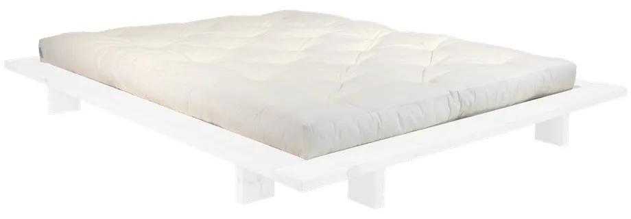 Dvojlôžková posteľ z borovicového dreva s matracom Karup Design Japan Comfort Mat White/Natural, 140 × 200 cm