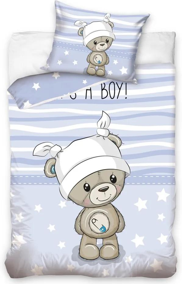 Tiptrade Detské bavlnené obliečky do postieľky Medvedík Mazlík modrá, 100 x 135 cm, 40 x 60 cm