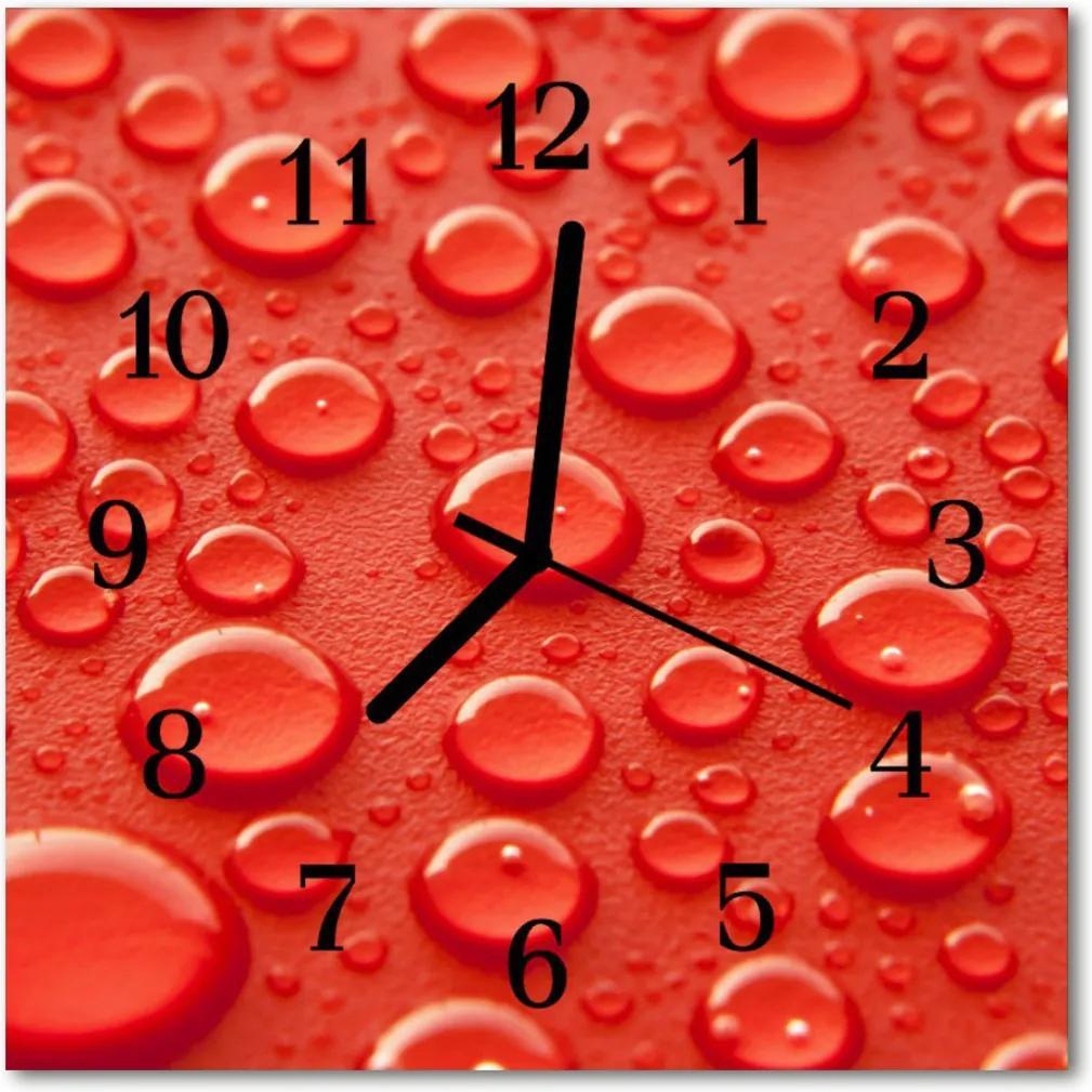 Skleněné hodiny čtvercové Kapky vody