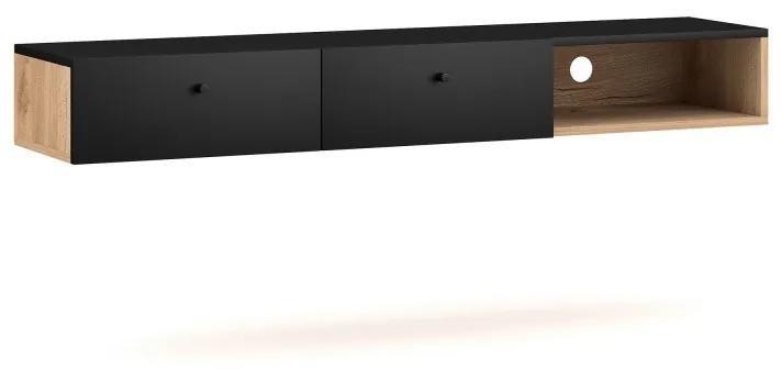 Hector Závěsný TV stolek Ulma RTV 140 cm dub artisan/černý