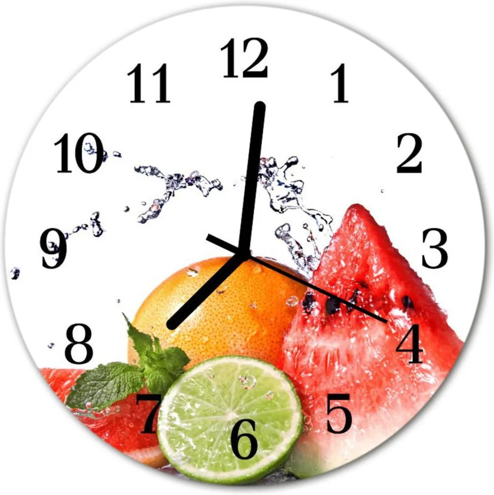 Nástenné skleněné hodiny ovoce