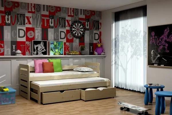 MAXMAX Detská posteľ s výsuvnou prístelkou z MASÍVU 180x80cm so zásuvkou - DPV011 180x80 ÁNO