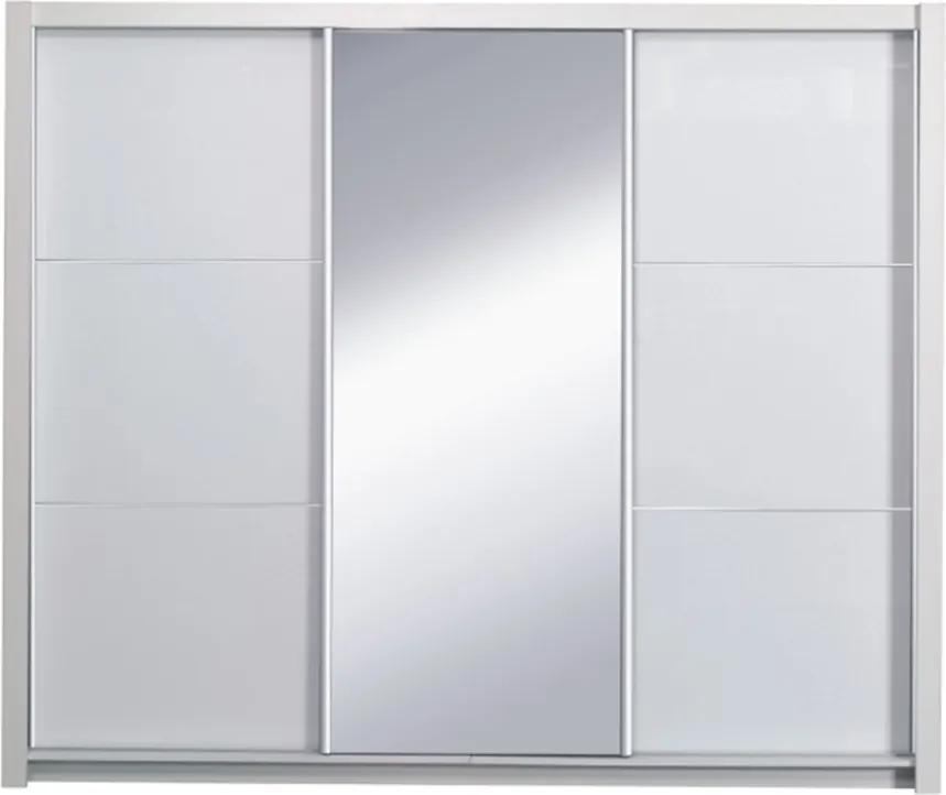 Skriňa s posúvacími dverami, biela/vysoký biely lesk, 208X213, ASIENA