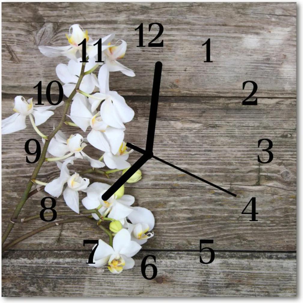 Nástenné skleněné hodiny Orchid květina