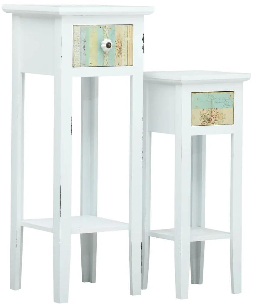 vidaXL 2-dielna sada príručných stolíkov, biela, MDF