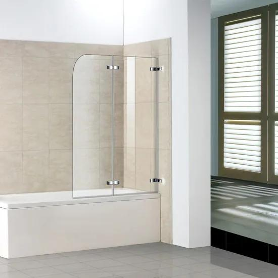 Vaňová zástena S2 CLEAR 110 × 140 cm – dvojdielna sklopná, číre sklo