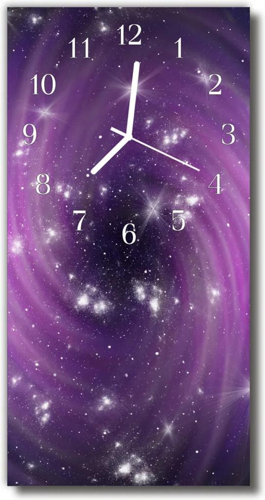 Sklenené hodiny vertikálne  Vesmír purpurová galaxie