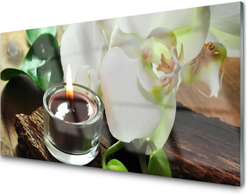 Sklenený obklad Do kuchyne Orchidea Sviece do Kúpeľov