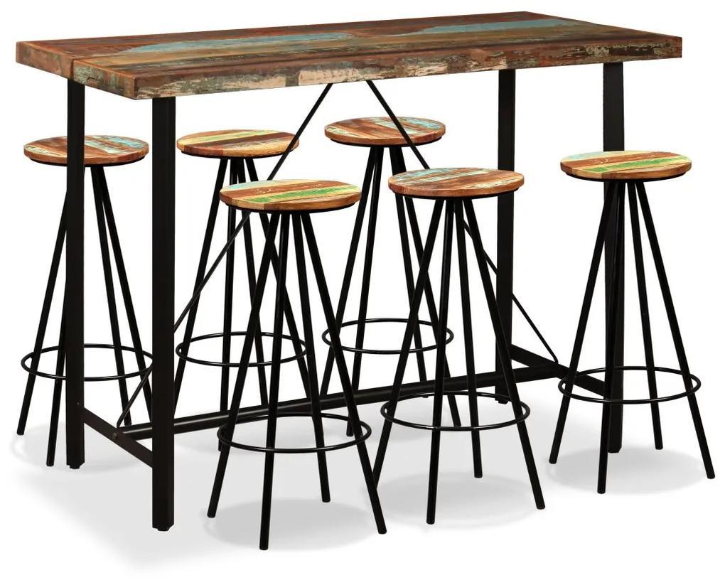 vidaXL Barová súprava, 7 kusov, masívne recyklované drevo