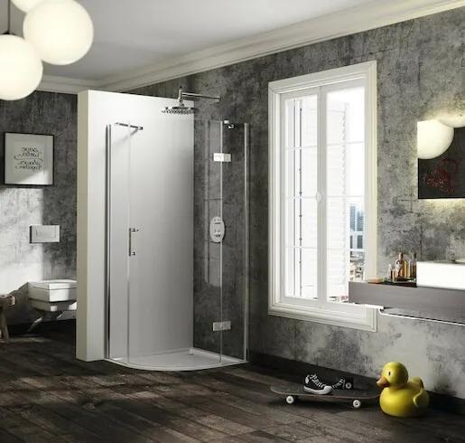 Sprchové dvere Huppe štvrťkruh 90 cm, sklo číre, chróm profil, pravé ST2007.092.322