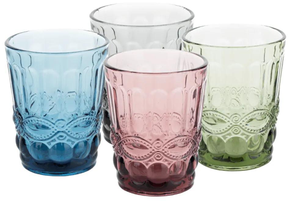 Poháre na vodu, set 4 ks, 240 ml, farebné vintage, SAVOY TYP 2