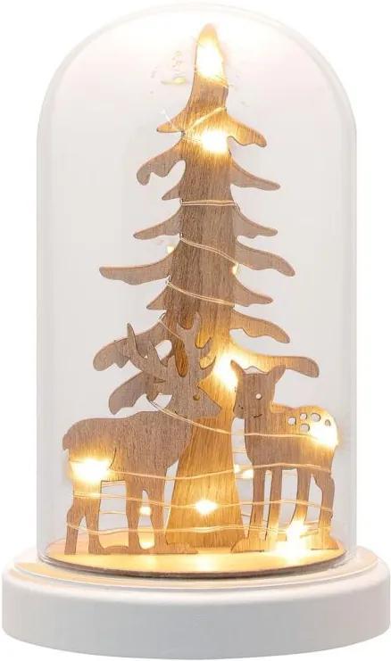 Vianočná dekorácia kupola - jeleň, 10 LED, teplá biela