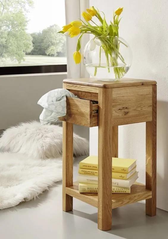 Bighome - VIENNA Príručný stolík 30x60 cm, dub