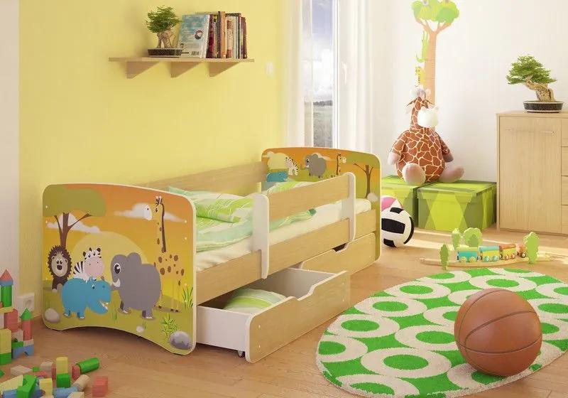 MAXMAX Detská posteľ SAFARI funny 160x80 cm - sa zásuvkou 160x80 pre všetkých ÁNO
