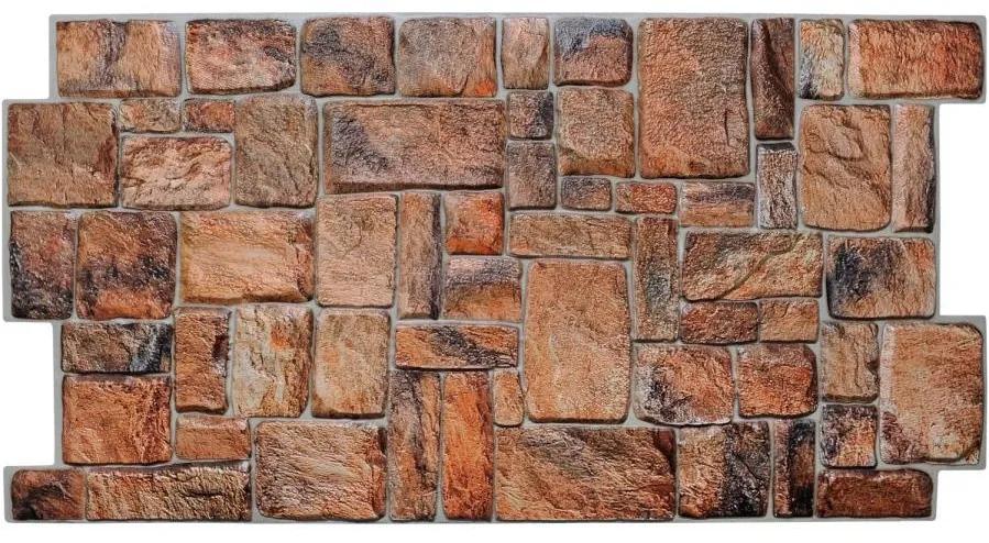 Obkladové 3D PVC panely TP10007349, rozmer 980 x 498 mm, ukladaný kameň prírodný, GRACE