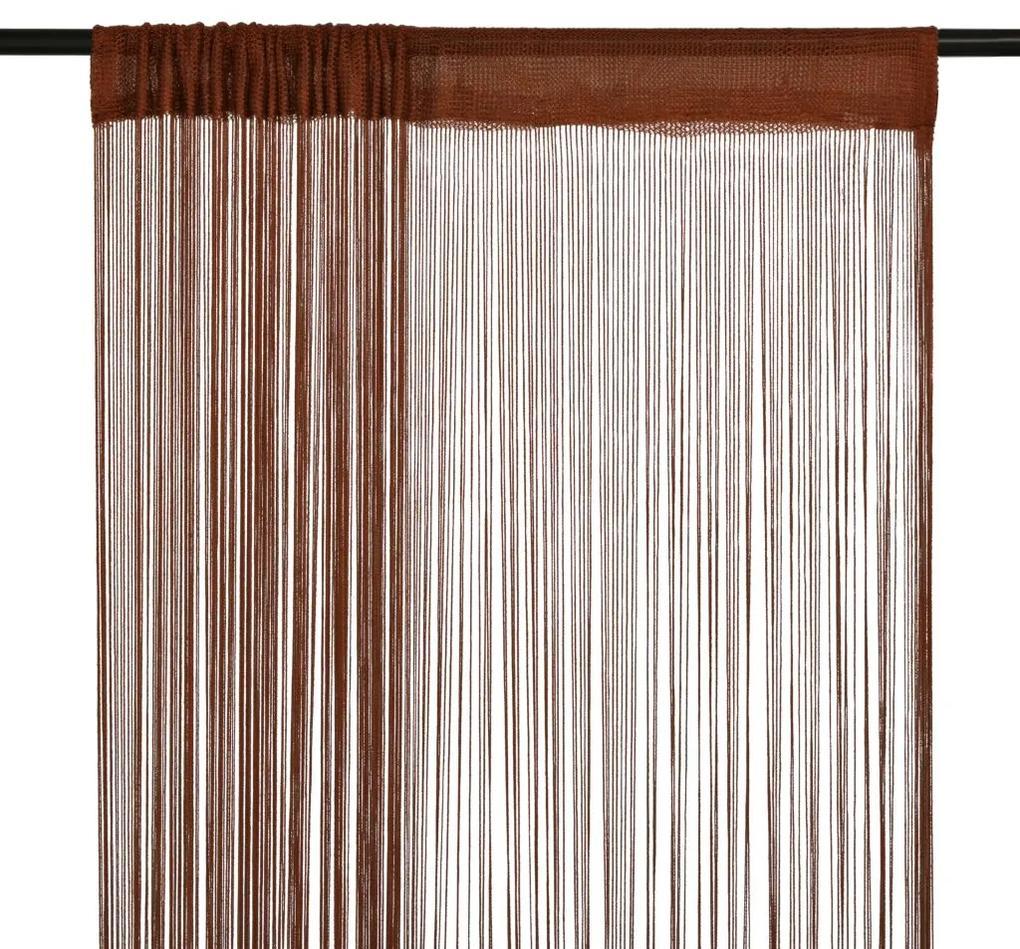 vidaXL Šnúrkový záves, 2 ks, 100x250 cm, hnedý