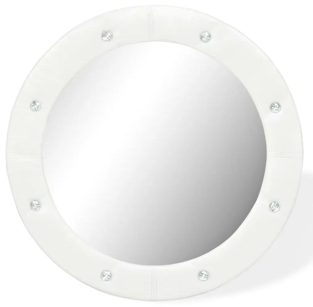 vidaXL Nástenné zrkadlo umelá koža 60 cm lesklé biele