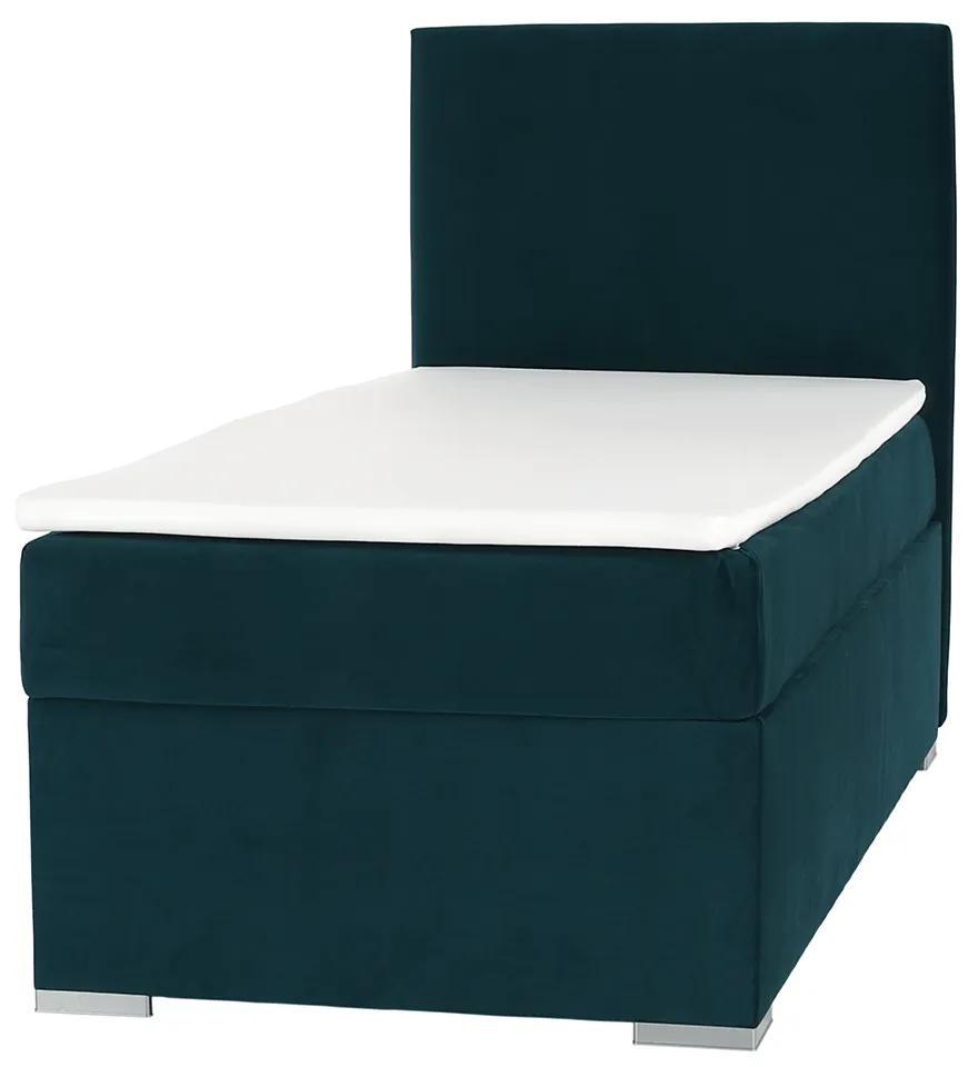 Boxspringová posteľ, jednolôžko, zelená, 90x200, pravá, SAFRA