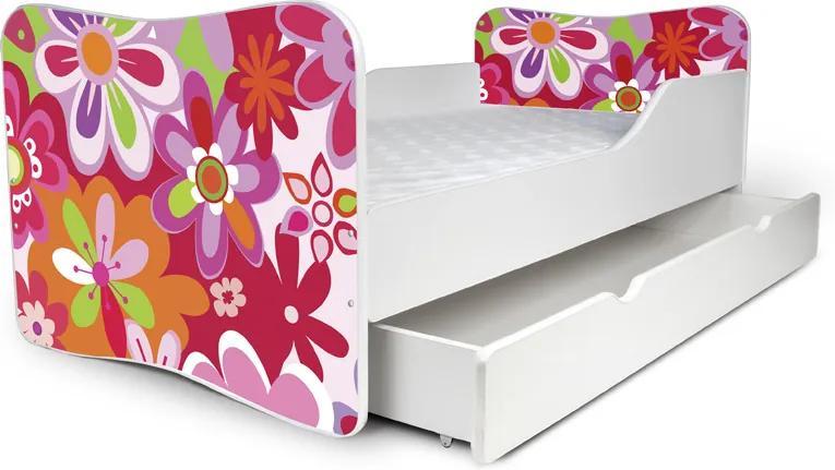 MAXMAX Detská posteľ so zásuvkou FAREBNÉ KVETY + matrac ZADARMO 180x80 pre dievča ÁNO