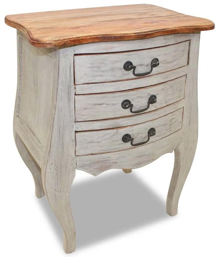 vidaXL Nočný stolík, masívne regenerované drevo, 48x35x64 cm