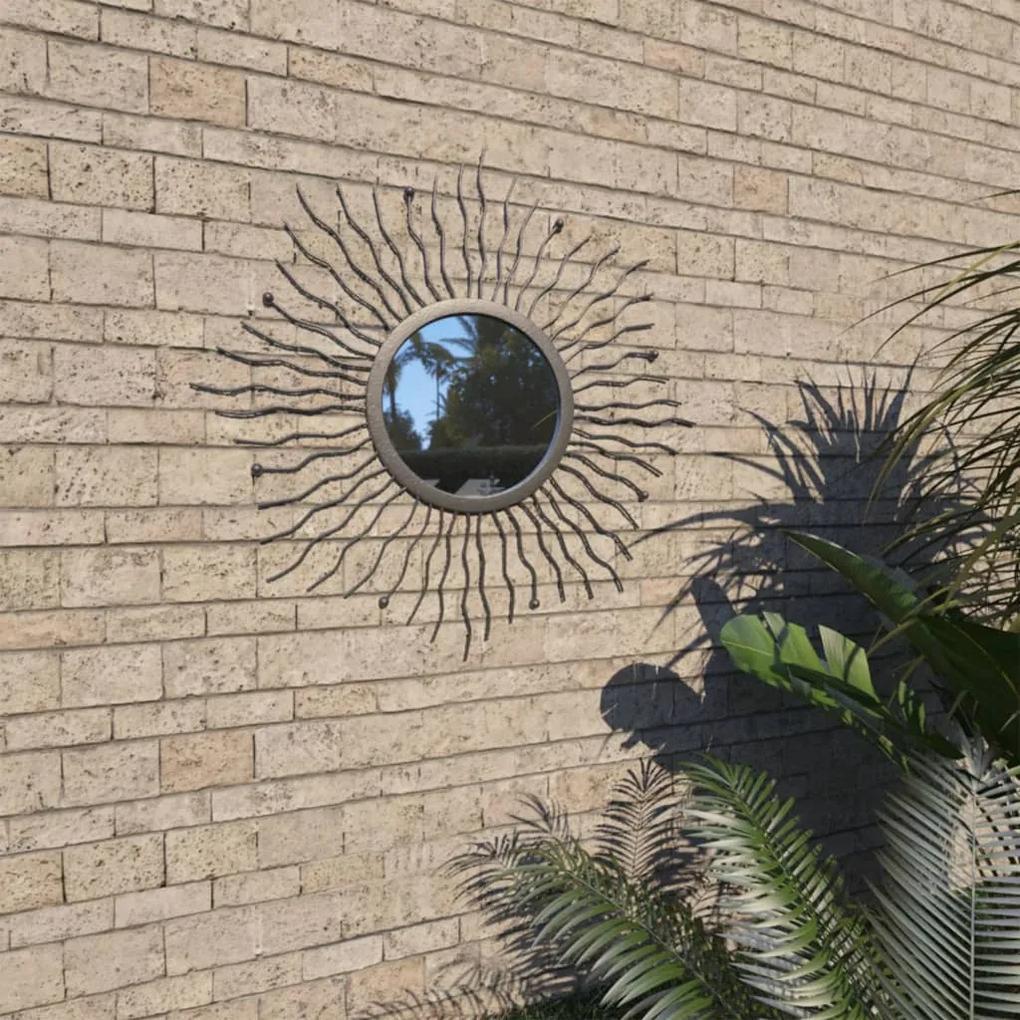 vidaXL Záhradné nástenné zrkadlo dizajn slnečných lúčov 60 cm čierne