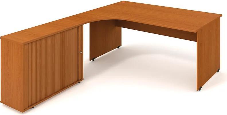 Rohový písací stôl UNI so skrinkou - dĺžka 1800 mm, pravý, buk