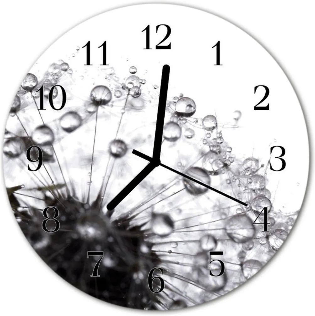 Skleněné hodiny kulaté pampeliška