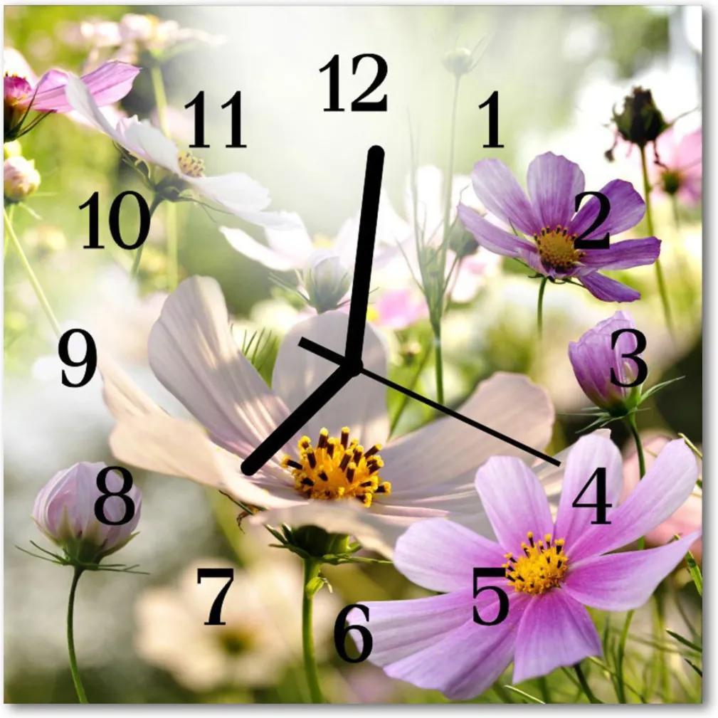 Skleněné hodiny čtvercové Květiny Cosmos