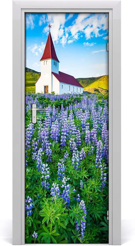 Fototapeta samolepící na dveře Kostel květiny