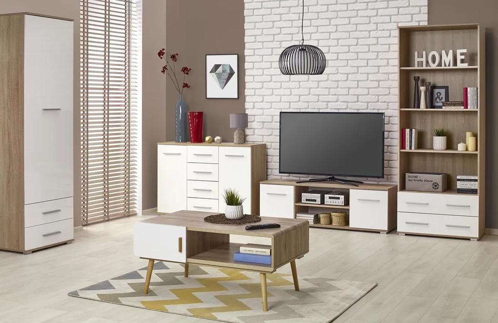 HALMAR Lima obývacia izba dub sonoma / biely lesk