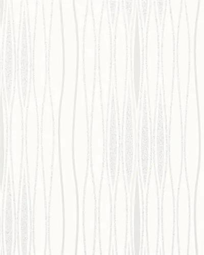 Vliesové tapety na stenu Alizé 6706-10, vlnovky bielo-strieborné, rozmer 10,05 m x 0,53 m, Novamur 81835