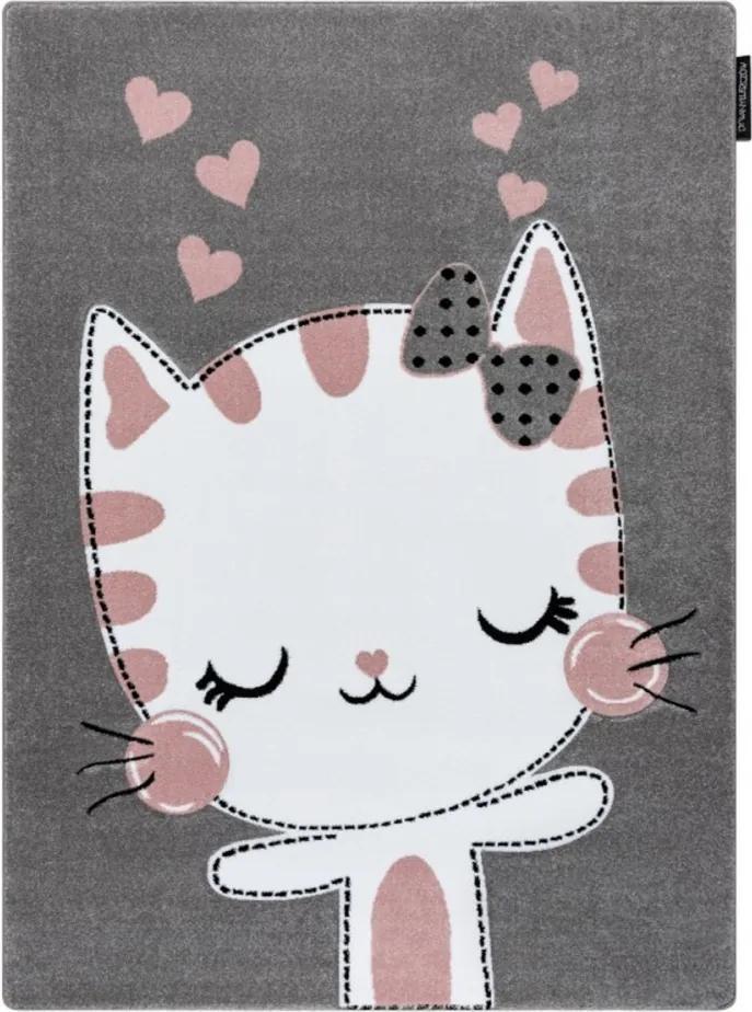 Detský kusový koberec Kitty sivý, Velikosti 240x330cm