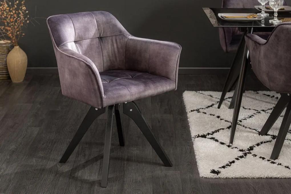 Dizajnová otočná stolička Giuliana tmavosivý zamat