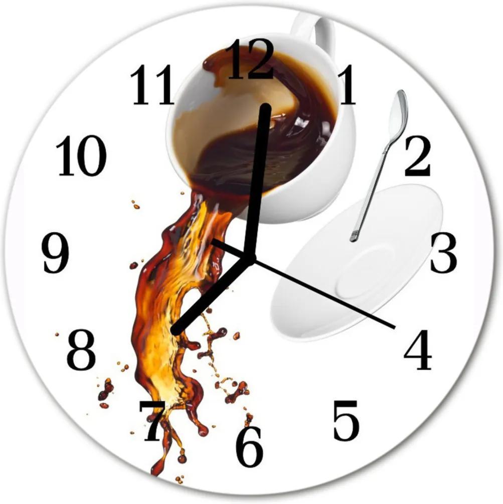 Nástenné skleněné hodiny káva