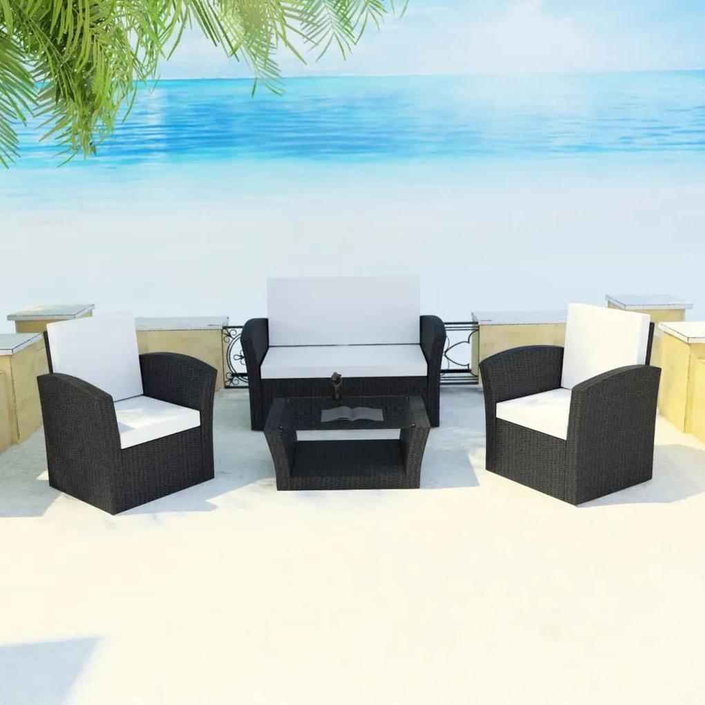 vidaXL 10-dielna záhradná sedacia súprava, polyratanová, čierna