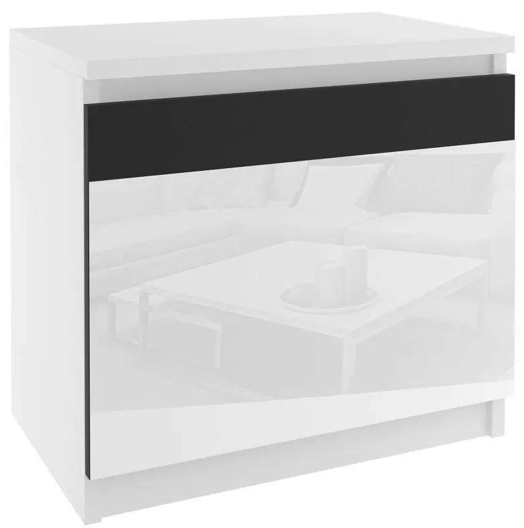 Biely nočný stolík s čiernymi sklenenými dvierkami