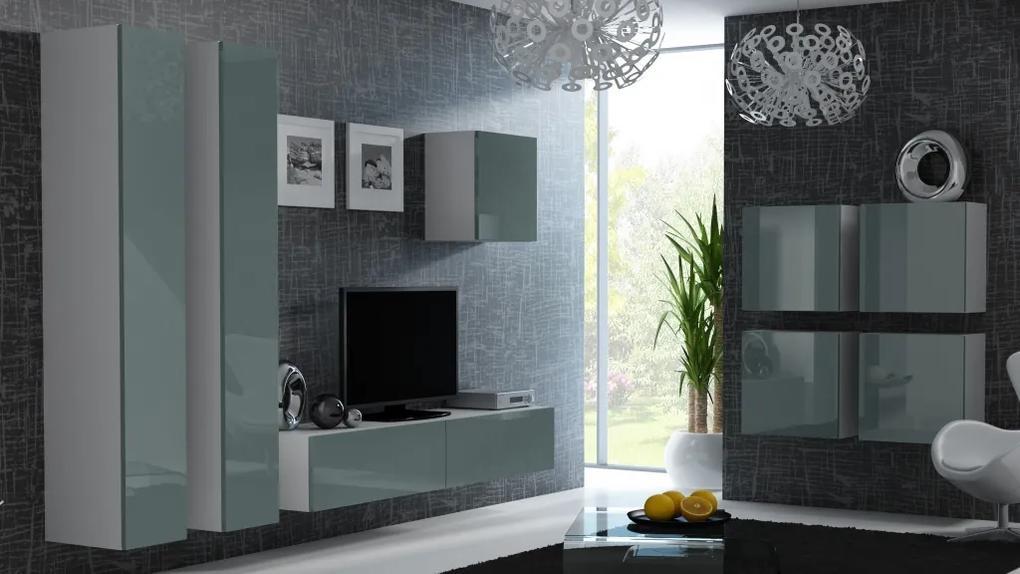 CAMA MEBLE Vigo obývacia izba biela / sivý lesk