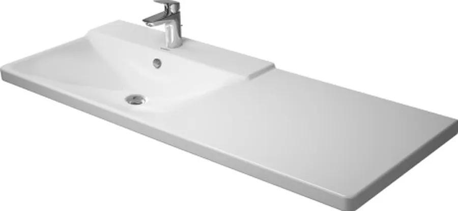 Duravit P3 Comforts - umývadlo 125x50 cm s odkladacou plochou vpravo, 3 otvory pre armatúru prepichnuté 2333120030