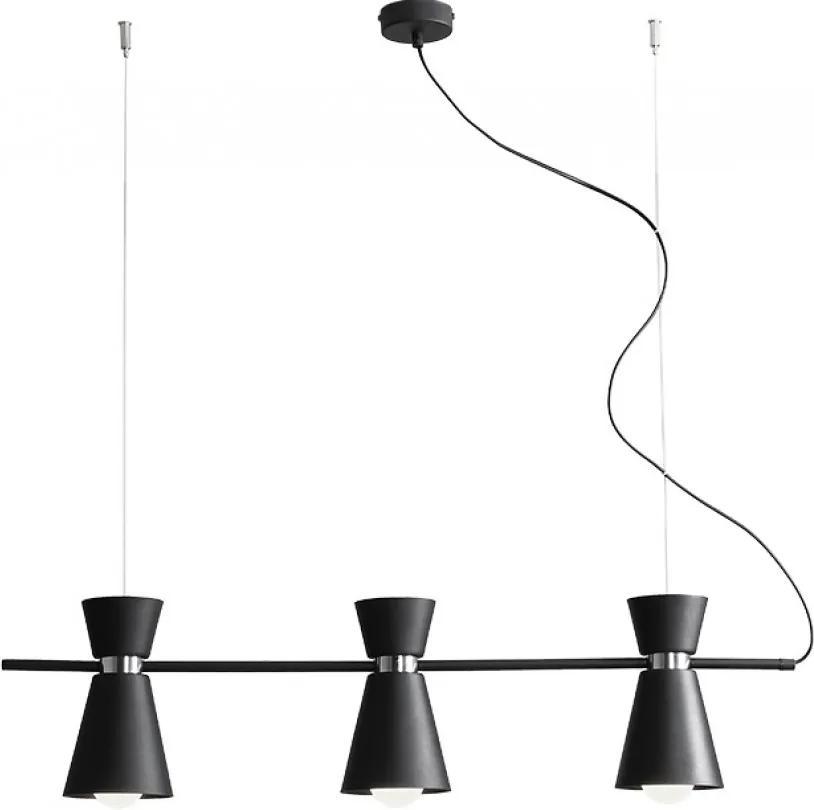 KEDAR | dizajnová čierna visiaca lampa trojitá