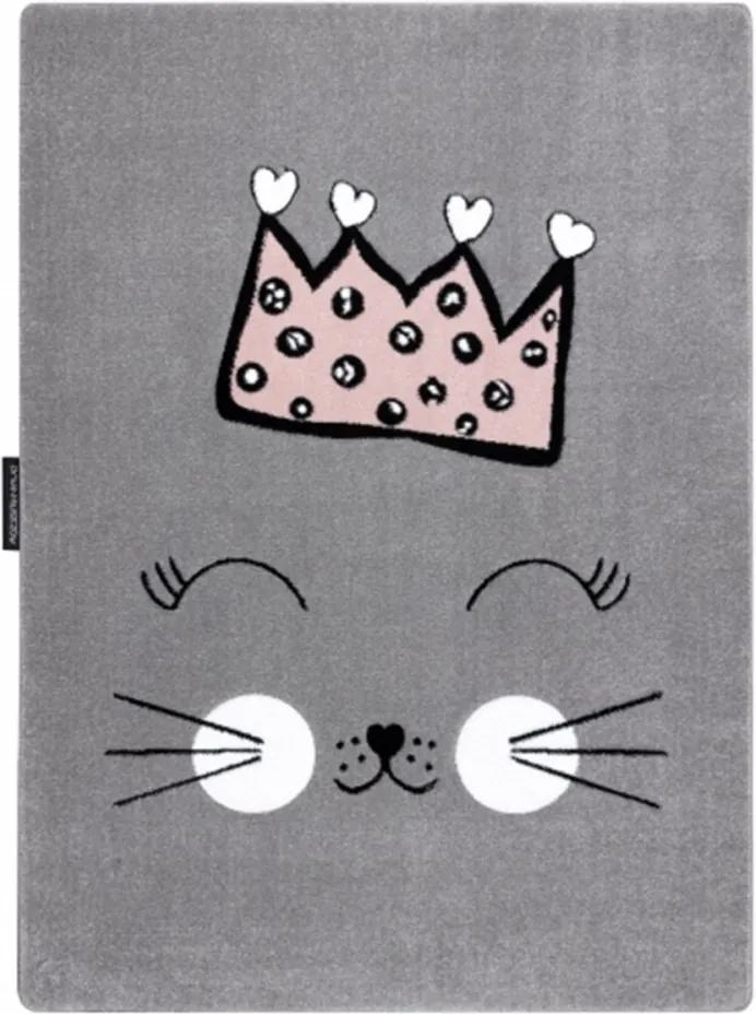 Detský kusový koberec Mačacie princezná sivý, Velikosti 180x270cm